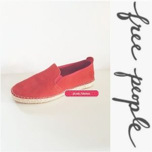 NIB FREE PEOPLE CORAL RUST SUEDE ESPIDRILL LOAFER